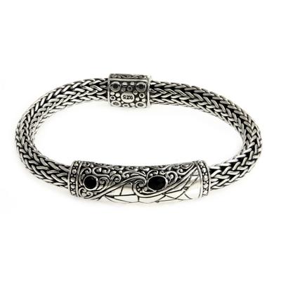 Men's onyx braided bracelet, 'Dragon Eyes' - Sterling Silver and Onyx Accent Men's Bracelet