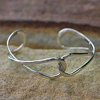 Sterling silver cuff bracelet, 'Lives Entwined' - Handcrafted Modern Sterling Silver Cuff Bracelet