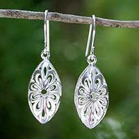 Sterling silver dangle earrings, 'Rice Flower' - Handcrafted Floral Sterling Silver Dangle Earrings