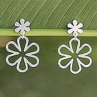 Sterling silver dangle earrings, 'Flower Power' - Handcrafted Floral Sterling Silver Dangle Earrings