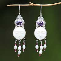 Amethyst and pearl dangle earrings, 'Moon Prince' - Amethyst and Pearl Chandelier Earrings