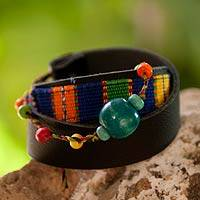 Leather and cotton wrap bracelet, 'Maya Forest' - Handwoven Cotton and Black Leather Wrap Bracelet