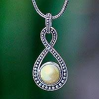 Cultured pearl pendant necklace, 'Infinite Champagne' - Pearl and Sterling Silver Pendant Necklace