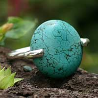 Sterling silver solitaire ring, 'Quietude' - Hand Crafted Reconstituted Turquoise and Silver Ring