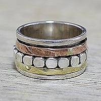 Sterling silver meditation spinner ring, 'Paved Road' - Sterling Silver Copper and Brass Spinner Ring from India