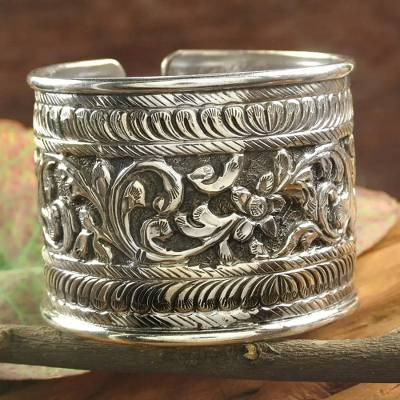 Embossed Indian Sterling Silver Cuff Bracelet Wild Blossoms