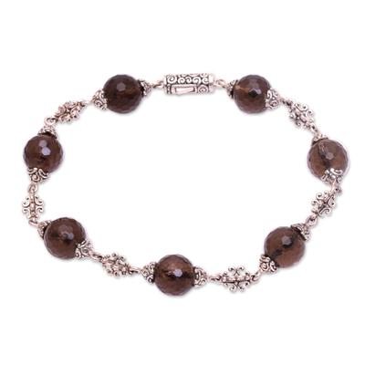 Smoky quartz link bracelet, 'Royal Elegance' - Bali Handcrafted Smoky Quartz and Sterling Silver Bracelet