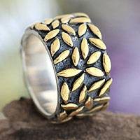 Gold plated band ring, 'Rice Stars' - Gold plated band ring