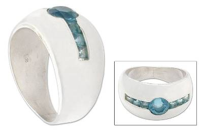 Blue topaz cocktail ring, 'Wink' - Silver and Blue Topaz Domed Ring