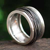 Silver band ring, 'Endless Path' - Hand Crafted Modern Fine Silver Band Ring