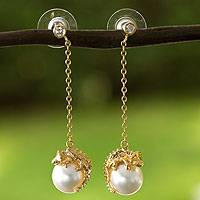 Gold plated faux pearl dangle earrings, 'Bright Chameleon' - Gold Plate and Swarovski Crystal Pearl Chameleon Earrings
