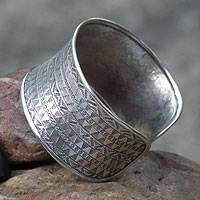 Silver cuff bracelet, 'Concentric Traditions' - Unique Hill Tribe 950 Silver Cuff Bracelet