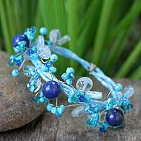 Turquoise and quartz wrap bracelet, 'Blue Forest' - Quartz Wristband Bracelet from Thailand