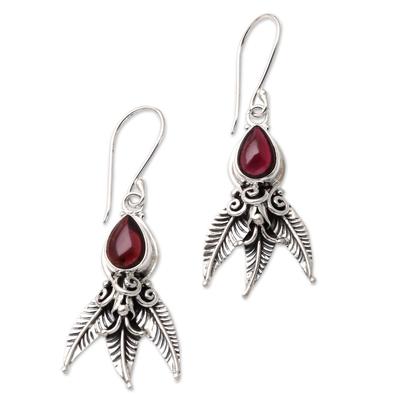 Garnet dangle earrings, 'Temptation of Eden' - Garnet and Sterling Silver Dangle Earrings