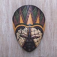 Wood batik mask, 'The Sultan' - Batik Motif Albasia Wood Mask Hand Painted in Java