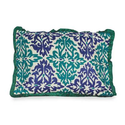 Embroidered cushion cover, 'Cool Flames' - Unique Embroidered Cushion Cover