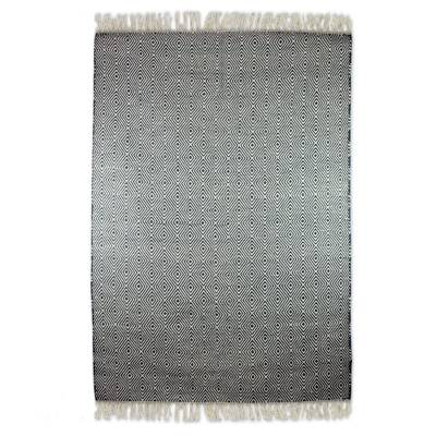 Wool dhurrie rug, 'Mesmerizing Diamonds' (4x6) - Blue and Off-White Wool Dhurrie Rug from India (4x6)