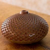 Ceramic decorative vase, 'Maya Geometry' - Nicaraguan Handcrafted Terracotta Vase