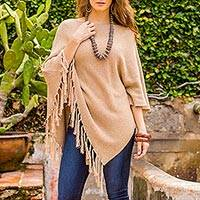 Cotton poncho, 'Spontaneous Style in Tan'