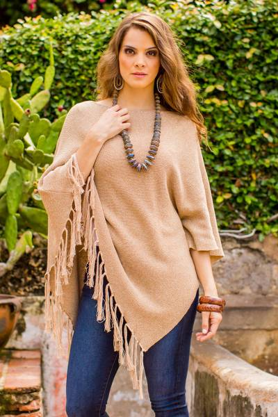 Cotton poncho, 'Spontaneous Style in Tan' - Cotton Poncho with Fringe and Tan Color from Guatemala