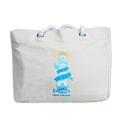 Canvas expandable beach tote, 'Heal the Bay' - Heal the Bay Bring Back the Beach Canvas Tote Bag