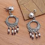 Sterling Silver and Pearl Chandelier Earrings, 'Harmony'