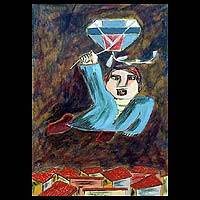'Kite Flier II' - Original Cuban Oil Painting of Kite Flier