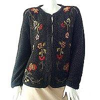 100% alpaca cardigan, 'Daisies' - Women's 100% Alpaca Cardigan with Floral Embroidery