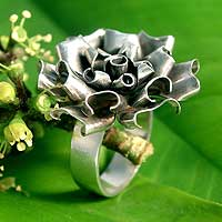 Silver flower ring, 'Ruffled Rose' - Silver flower ring