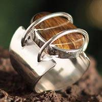 Tiger's eye cocktail ring, 'Web of Mystery'