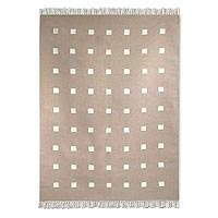 Wool and cotton rug, 'Boldly Tan' (5x9) - Wool and cotton rug (5x9)