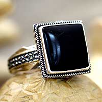 Onyx cocktail ring, 'Sensational' - Onyx cocktail ring