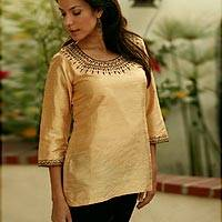 Beaded silk tunic, 'The Muse in Gold' - Beaded silk tunic
