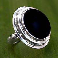 Onyx cocktail ring, 'Eclipse' - Onyx cocktail ring