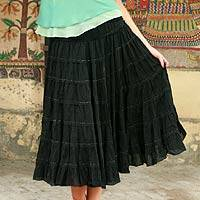 Beaded cotton skirt, 'Ebony Ruffles' - Beaded cotton skirt