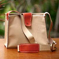 Leather shoulder bag, 'Tangerine Fling' - Leather shoulder bag