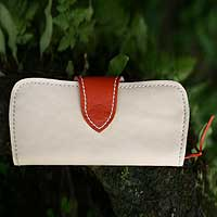 Leather wallet, 'Tangerine Fling' - Leather wallet
