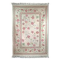Wool rug, 'Hot Pink Bouquet' (4x6) - Wool rug (4x6)