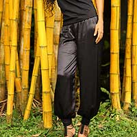 Silk pants, 'Sporty Black' - Silk pants