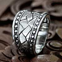 Men's sterling silver ring, 'Emperor' - Men's sterling silver ring