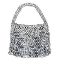 Soda pop-top shoulder bag, 'Extra Large Shimmery Silver' - Eco Friendly Soda Pop-top Shoulder Bag from Brazil