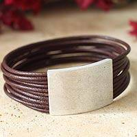 Men's leather bracelet, 'Versatile Fun' - Men's leather bracelet