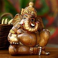 Wood sculpture, 'Ganesha with Cupu' - Wood sculpture