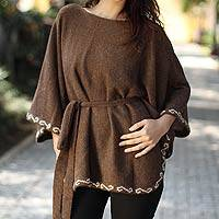 100% alpaca wool poncho sweater, 'Grace' - 100% alpaca wool poncho sweater