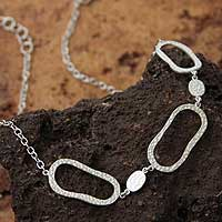 Silver pendant necklace, 'Freeform' - Silver pendant necklace