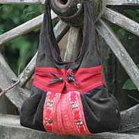 Hobo handbag, 'Black Tribal Bouquet' - Hobo handbag