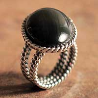 Onyx cocktail ring, 'Goth Chic' - Onyx cocktail ring