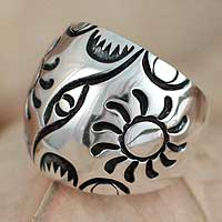 Silver dome ring, 'Glorious Sun' - Silver dome ring