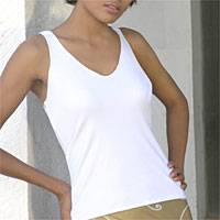 Cotton top, 'White Hip Rings' - Cotton top
