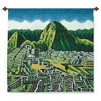 Wool tapestry, 'Wonder of the World' - Peruvian Wool Tapestry of Machu Picchu